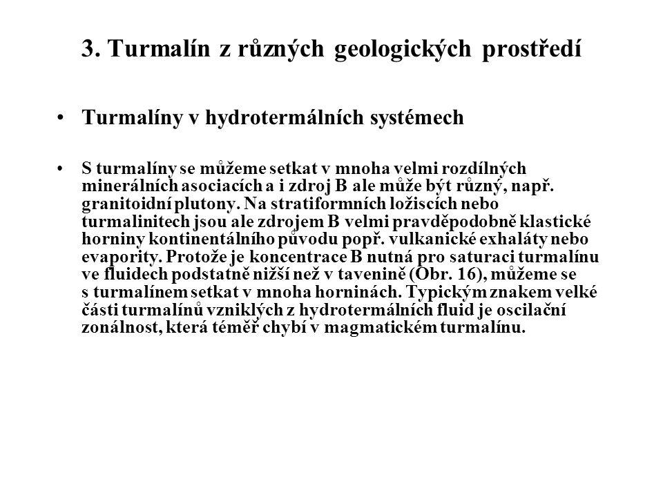 Turmalíny v hydrotermálních systémech S turmalíny se můžeme setkat v mnoha velmi rozdílných minerálních asociacích a i zdroj B ale může být různý, např.