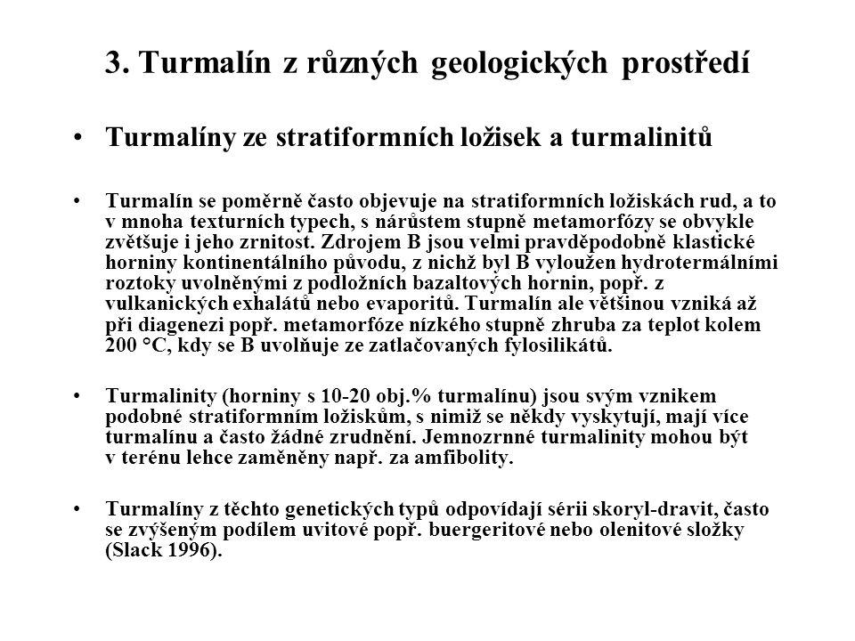 3. Turmalín z různých geologických prostředí Turmalíny ze stratiformních ložisek a turmalinitů Turmalín se poměrně často objevuje na stratiformních lo