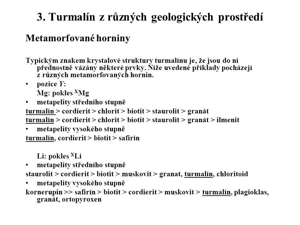 3. Turmalín z různých geologických prostředí Metamorfované horniny Typickým znakem krystalové struktury turmalínu je, že jsou do ní přednostně vázány