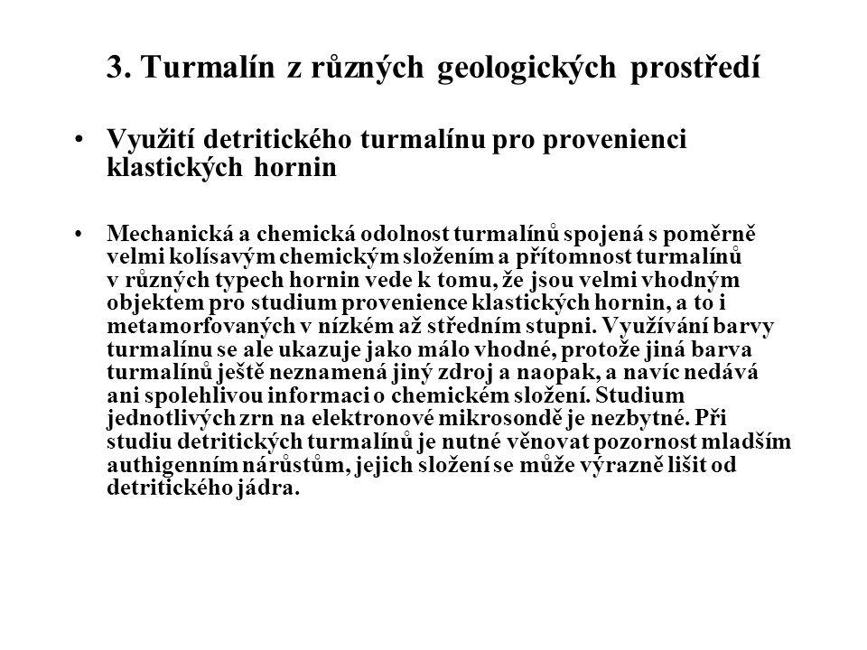 3. Turmalín z různých geologických prostředí Využití detritického turmalínu pro provenienci klastických hornin Mechanická a chemická odolnost turmalín