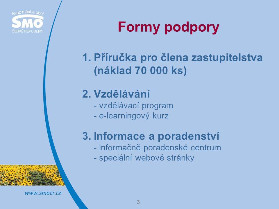 3 Formy podpory 1.Příručka pro člena zastupitelstva (náklad 70 000 ks) 2.Vzdělávání - vzdělávací program - e-learningový kurz 3.Informace a poradenství - informačně poradenské centrum - speciální webové stránky
