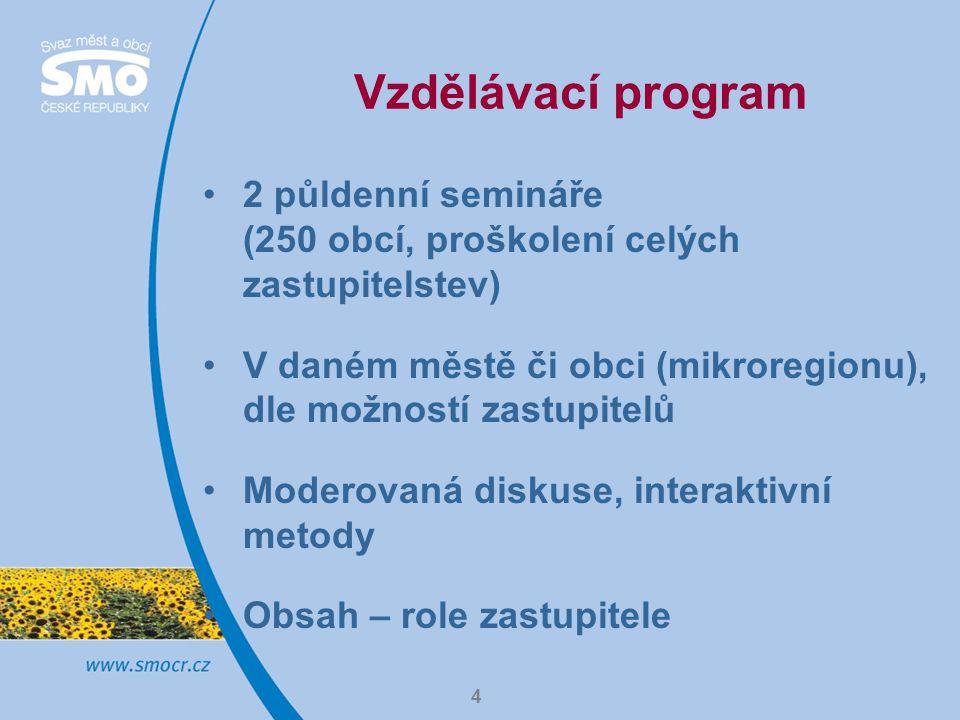 4 Vzdělávací program 2 půldenní semináře (250 obcí, proškolení celých zastupitelstev) V daném městě či obci (mikroregionu), dle možností zastupitelů Moderovaná diskuse, interaktivní metody Obsah – role zastupitele