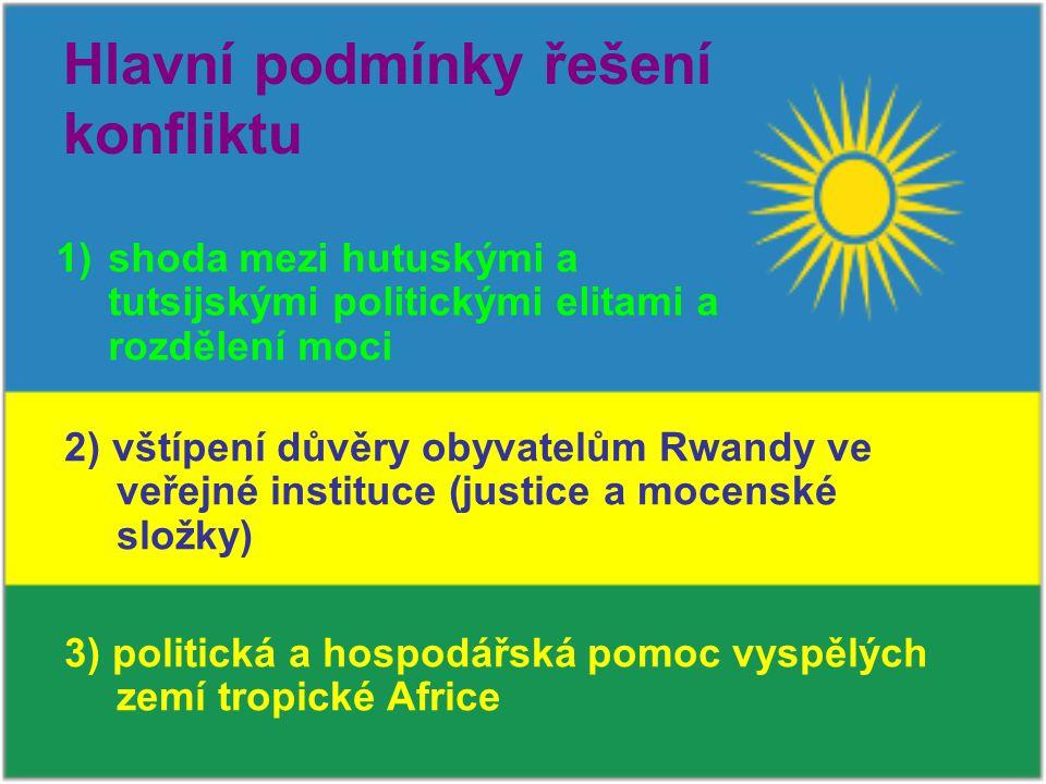 Hlavní podmínky řešení konfliktu 1)shoda mezi hutuskými a tutsijskými politickými elitami a rozdělení moci 2) vštípení důvěry obyvatelům Rwandy ve veřejné instituce (justice a mocenské složky) 3) politická a hospodářská pomoc vyspělých zemí tropické Africe