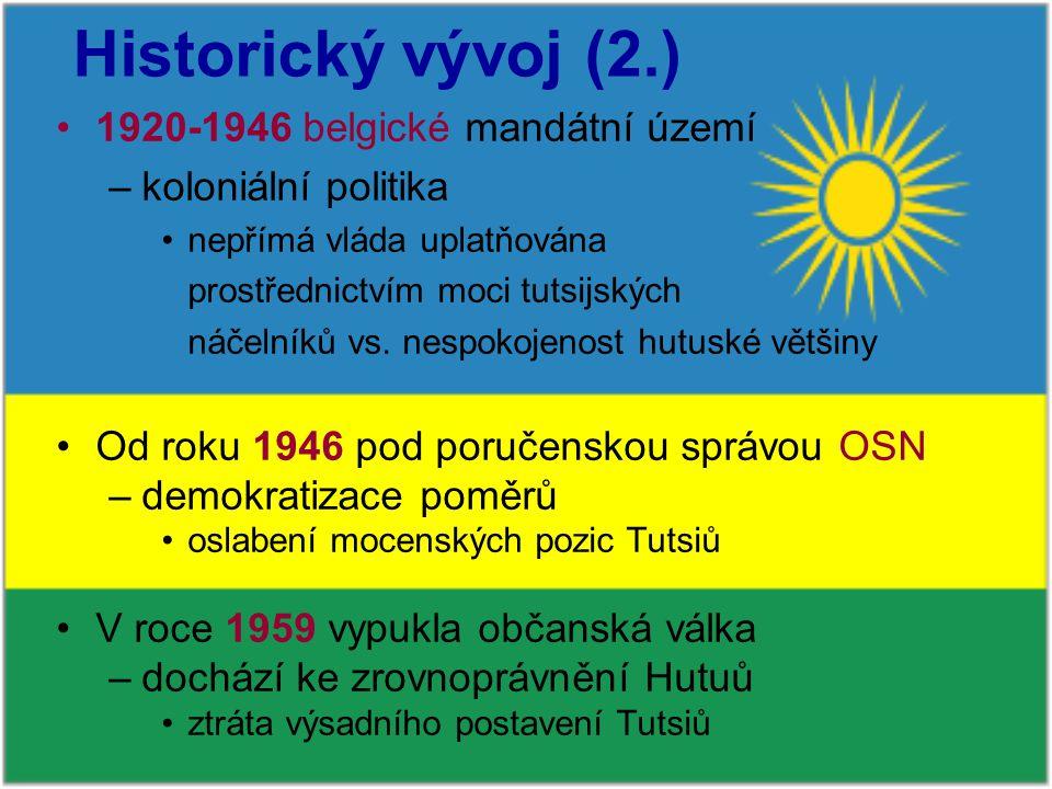 Historický vývoj (2.) 1920-1946 belgické mandátní území –koloniální politika nepřímá vláda uplatňována prostřednictvím moci tutsijských náčelníků vs.