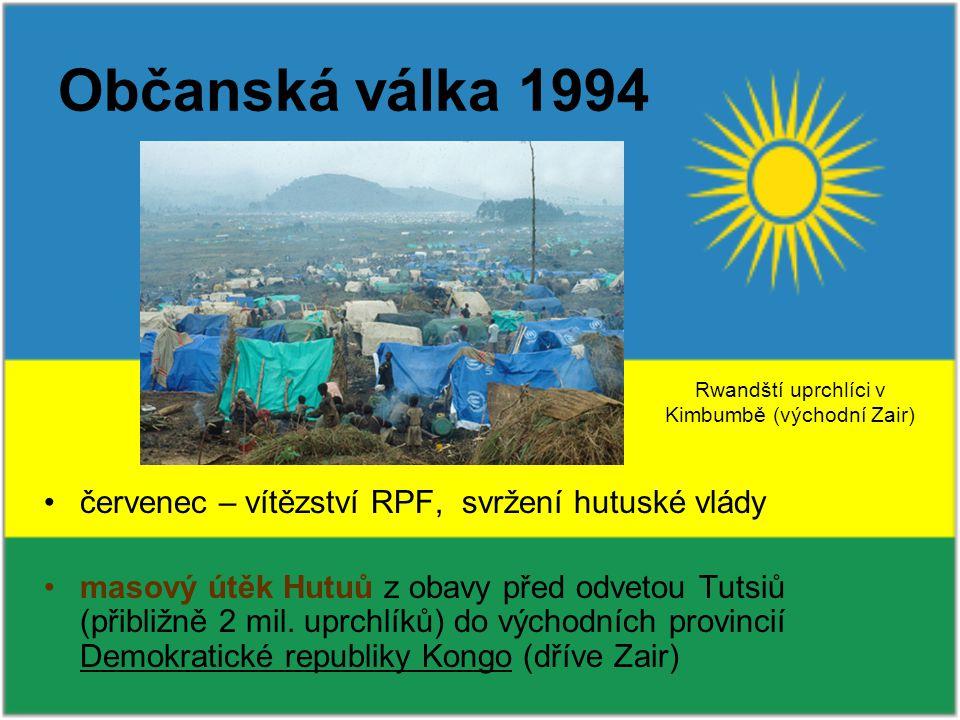 červenec – vítězství RPF, svržení hutuské vlády masový útěk Hutuů z obavy před odvetou Tutsiů (přibližně 2 mil.