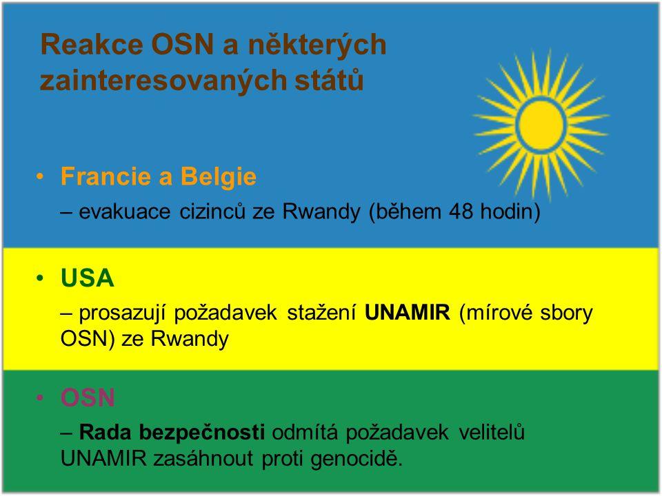 Reakce OSN a některých zainteresovaných států Francie a Belgie – evakuace cizinců ze Rwandy (během 48 hodin) USA – prosazují požadavek stažení UNAMIR (mírové sbory OSN) ze Rwandy OSN – Rada bezpečnosti odmítá požadavek velitelů UNAMIR zasáhnout proti genocidě.