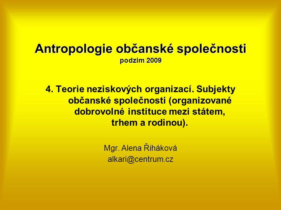 Antropologie občanské společnosti podzim 2009 4. Teorie neziskových organizací. Subjekty občanské společnosti (organizované dobrovolné instituce mezi