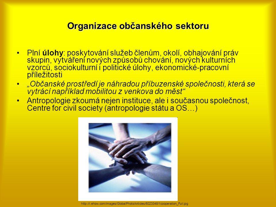 Organizace občanského sektoru Plní úlohy: poskytování služeb členům, okolí, obhajování práv skupin, vytváření nových způsobů chování, nových kulturníc