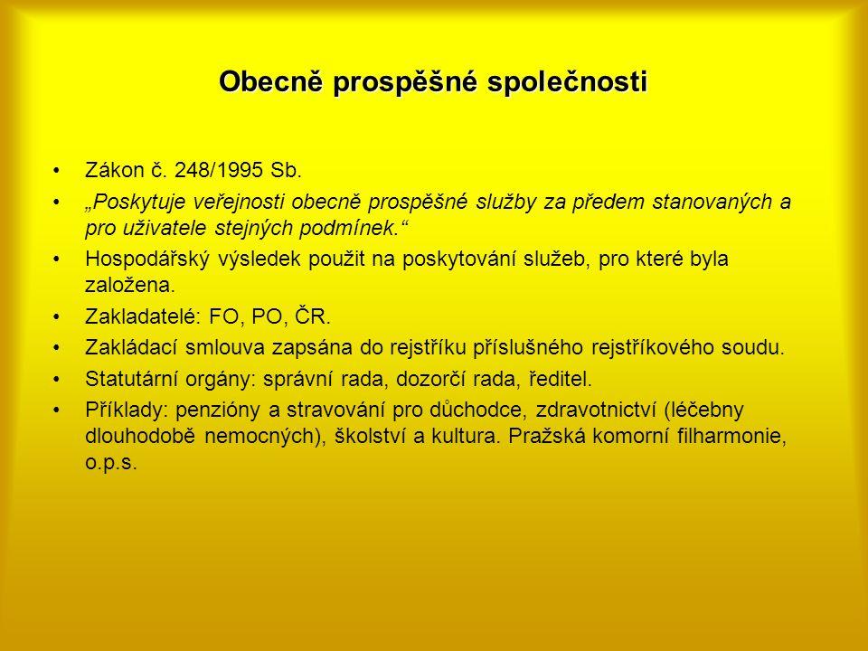 """Obecně prospěšné společnosti Zákon č. 248/1995 Sb. """"Poskytuje veřejnosti obecně prospěšné služby za předem stanovaných a pro uživatele stejných podmín"""