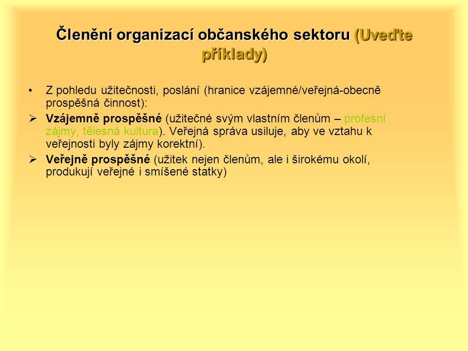 Členění organizací občanského sektoru (Uveďte příklady) Z pohledu užitečnosti, poslání (hranice vzájemné/veřejná-obecně prospěšná činnost):  Vzájemně prospěšné (užitečné svým vlastním členům – profesní zájmy, tělesná kultura).