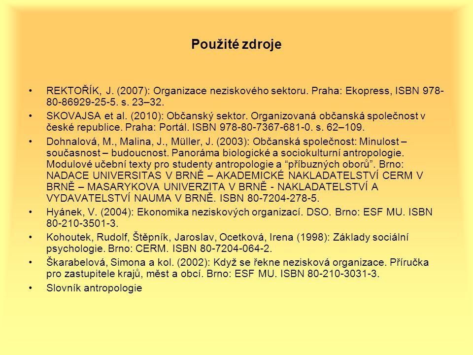 Použité zdroje REKTOŘÍK, J.(2007): Organizace neziskového sektoru.
