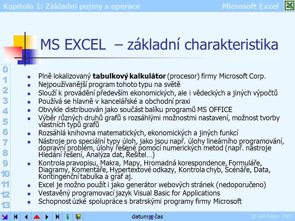 Kapitola 1: Základní pojmy a operace Microsoft Excel © Jan Felger 2005 datum a čas 12 MS EXCEL – základní charakteristika Plně lokalizovaný tabulkový