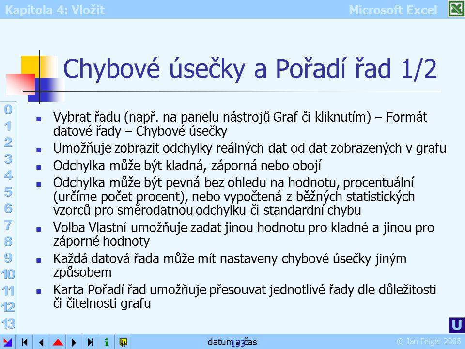 Kapitola 4: Vložit Microsoft Excel © Jan Felger 2005 datum a čas 133 Chybové úsečky a Pořadí řad 1/2 Vybrat řadu (např. na panelu nástrojů Graf či kli