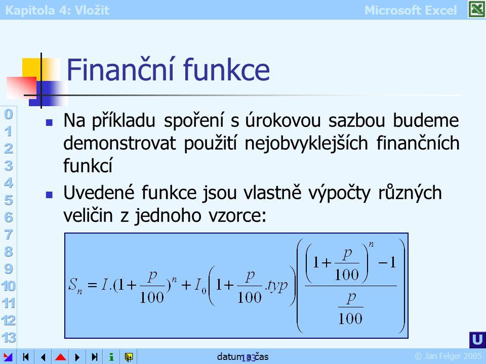 Kapitola 4: Vložit Microsoft Excel © Jan Felger 2005 datum a čas 153 Finanční funkce Na příkladu spoření s úrokovou sazbou budeme demonstrovat použití