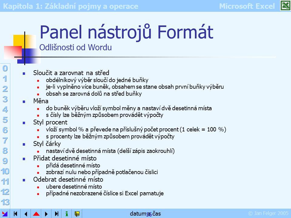 Kapitola 1: Základní pojmy a operace Microsoft Excel © Jan Felger 2005 datum a čas 16 Panel nástrojů Formát Odlišnosti od Wordu Sloučit a zarovnat na