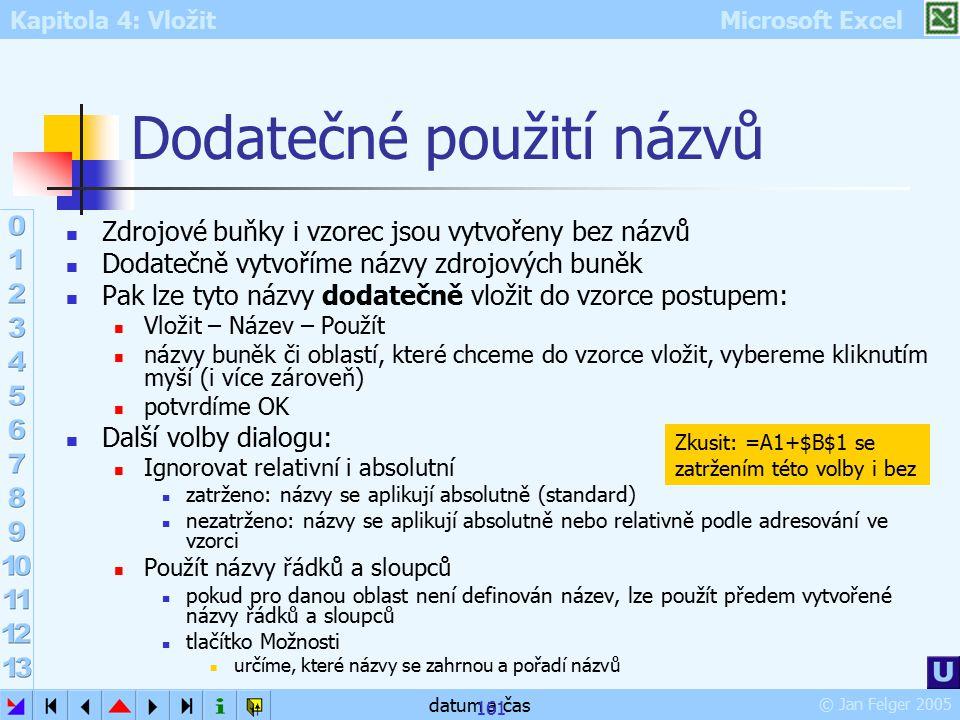 Kapitola 4: Vložit Microsoft Excel © Jan Felger 2005 datum a čas 161 Dodatečné použití názvů Zdrojové buňky i vzorec jsou vytvořeny bez názvů Dodatečn