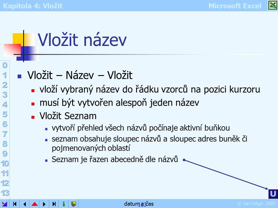 Kapitola 4: Vložit Microsoft Excel © Jan Felger 2005 datum a čas 163 Vložit název Vložit – Název – Vložit vloží vybraný název do řádku vzorců na pozic