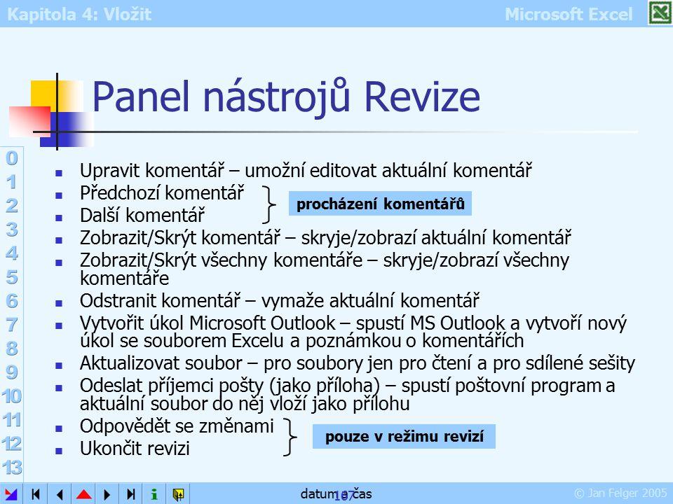 Kapitola 4: Vložit Microsoft Excel © Jan Felger 2005 datum a čas 167 Panel nástrojů Revize Upravit komentář – umožní editovat aktuální komentář Předch