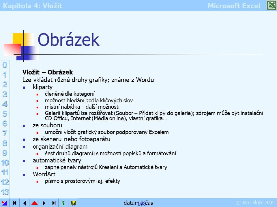 Kapitola 4: Vložit Microsoft Excel © Jan Felger 2005 datum a čas 168 Obrázek Vložit – Obrázek Lze vkládat různé druhy grafiky; známe z Wordu kliparty