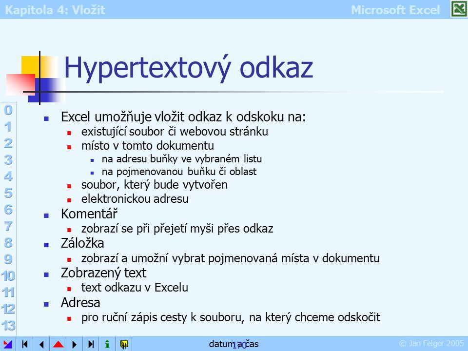 Kapitola 4: Vložit Microsoft Excel © Jan Felger 2005 datum a čas 170 Hypertextový odkaz Excel umožňuje vložit odkaz k odskoku na: existující soubor či