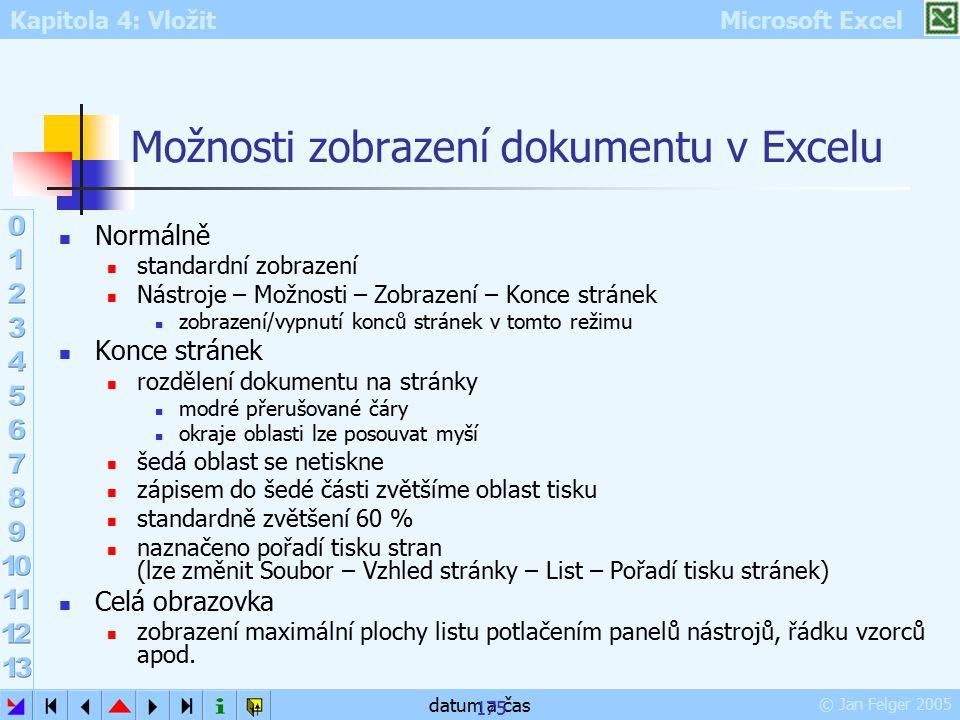 Kapitola 4: Vložit Microsoft Excel © Jan Felger 2005 datum a čas 175 Možnosti zobrazení dokumentu v Excelu Normálně standardní zobrazení Nástroje – Mo
