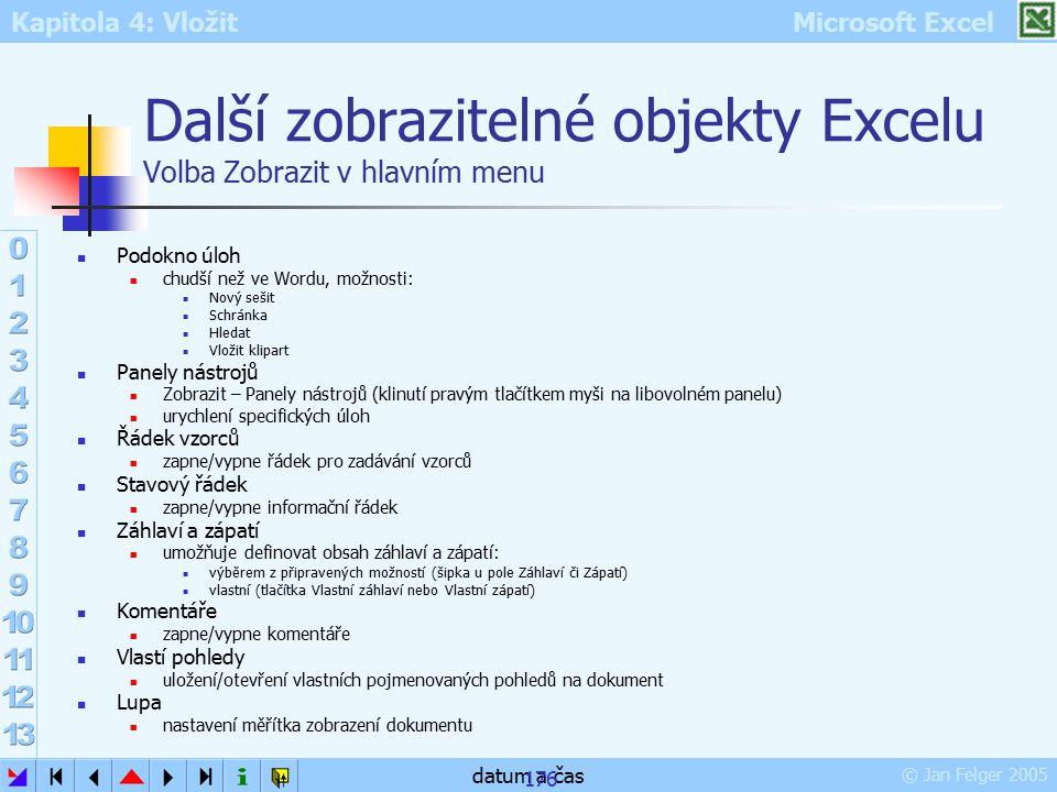 Kapitola 4: Vložit Microsoft Excel © Jan Felger 2005 datum a čas 176 Další zobrazitelné objekty Excelu Volba Zobrazit v hlavním menu Podokno úloh chud