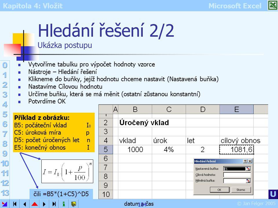 Kapitola 4: Vložit Microsoft Excel © Jan Felger 2005 datum a čas 184 Hledání řešení 2/2 Ukázka postupu Vytvoříme tabulku pro výpočet hodnoty vzorce Ná