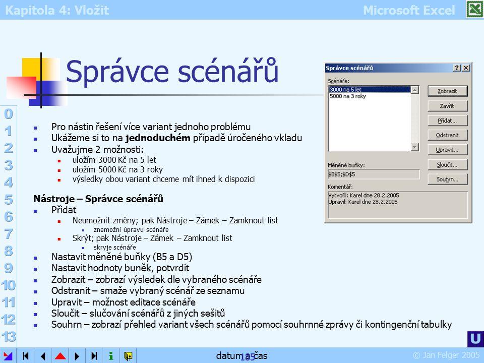 Kapitola 4: Vložit Microsoft Excel © Jan Felger 2005 datum a čas 185 Správce scénářů Pro nástin řešení více variant jednoho problému Ukážeme si to na