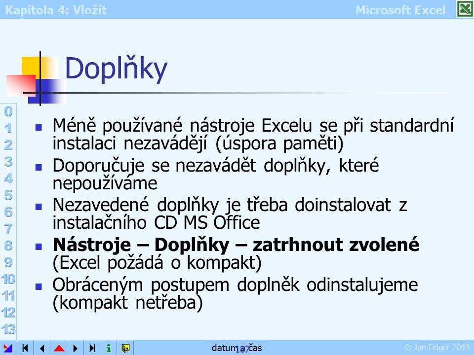 Kapitola 4: Vložit Microsoft Excel © Jan Felger 2005 datum a čas 187 Doplňky Méně používané nástroje Excelu se při standardní instalaci nezavádějí (ús