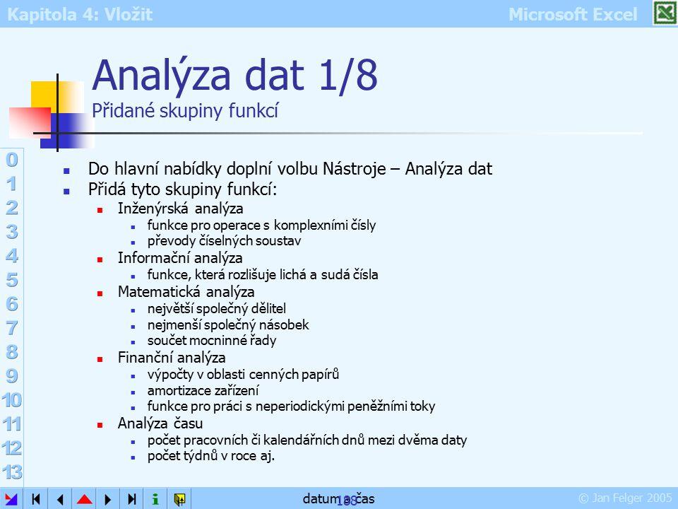 Kapitola 4: Vložit Microsoft Excel © Jan Felger 2005 datum a čas 188 Analýza dat 1/8 Přidané skupiny funkcí Do hlavní nabídky doplní volbu Nástroje –