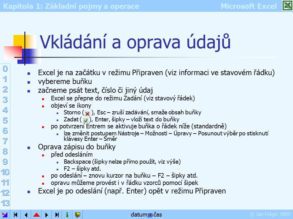 Kapitola 1: Základní pojmy a operace Microsoft Excel © Jan Felger 2005 datum a čas 19 Vkládání a oprava údajů Excel je na začátku v režimu Připraven (