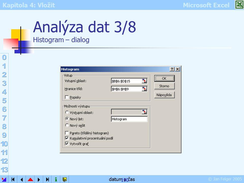Kapitola 4: Vložit Microsoft Excel © Jan Felger 2005 datum a čas 190 Analýza dat 3/8 Histogram – dialog