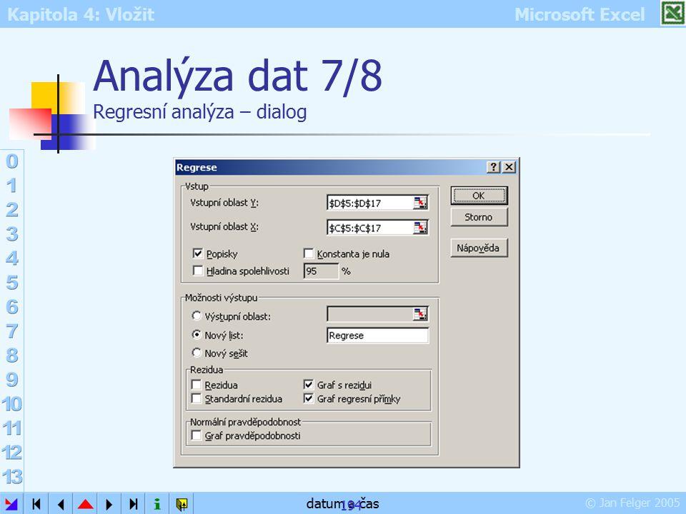 Kapitola 4: Vložit Microsoft Excel © Jan Felger 2005 datum a čas 194 Analýza dat 7/8 Regresní analýza – dialog