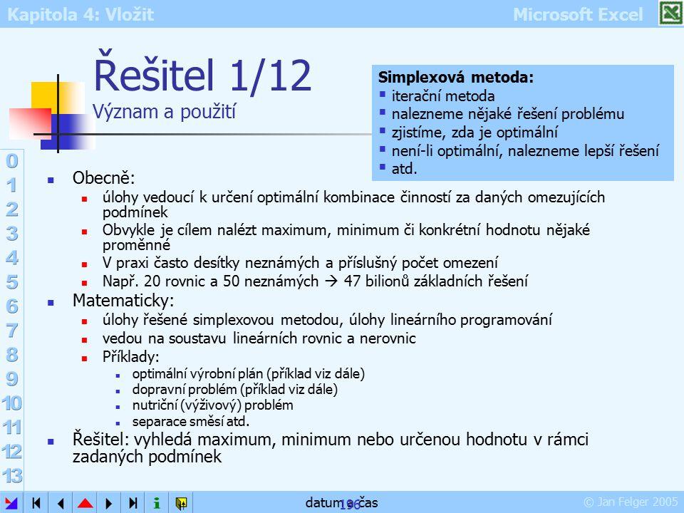 Kapitola 4: Vložit Microsoft Excel © Jan Felger 2005 datum a čas 196 Řešitel 1/12 Význam a použití Obecně: úlohy vedoucí k určení optimální kombinace