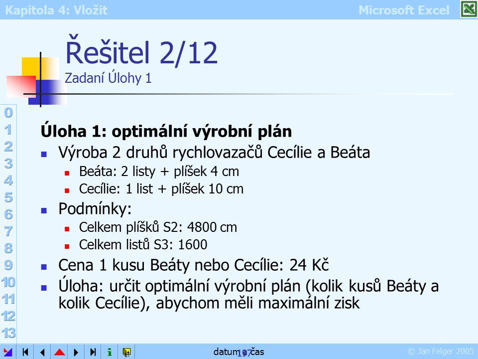 Kapitola 4: Vložit Microsoft Excel © Jan Felger 2005 datum a čas 197 Řešitel 2/12 Zadaní Úlohy 1 Úloha 1: optimální výrobní plán Výroba 2 druhů rychlo