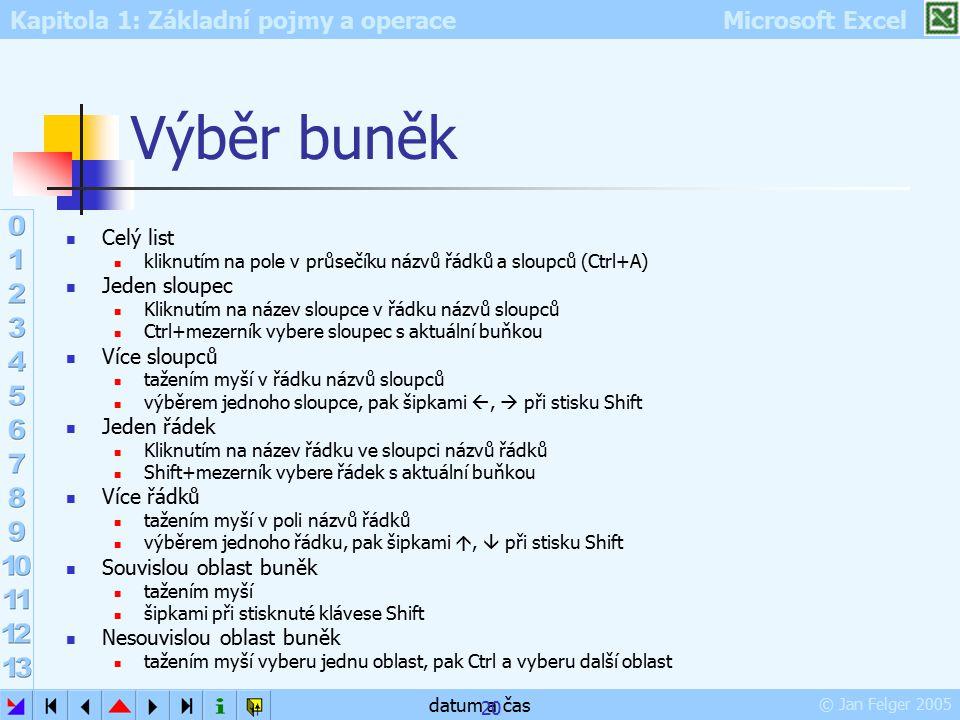 Kapitola 1: Základní pojmy a operace Microsoft Excel © Jan Felger 2005 datum a čas 20 Výběr buněk Celý list kliknutím na pole v průsečíku názvů řádků