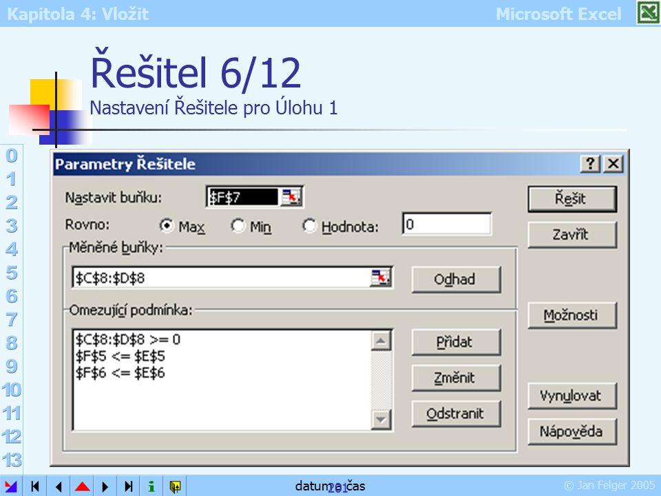 Kapitola 4: Vložit Microsoft Excel © Jan Felger 2005 datum a čas 201 Řešitel 6/12 Nastavení Řešitele pro Úlohu 1