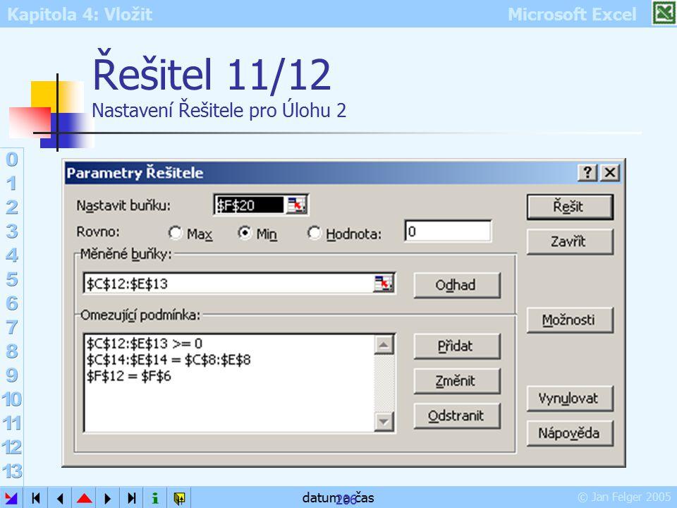Kapitola 4: Vložit Microsoft Excel © Jan Felger 2005 datum a čas 206 Řešitel 11/12 Nastavení Řešitele pro Úlohu 2