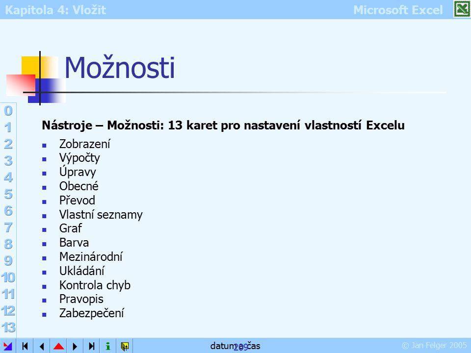 Kapitola 4: Vložit Microsoft Excel © Jan Felger 2005 datum a čas 209 Možnosti Nástroje – Možnosti: 13 karet pro nastavení vlastností Excelu Zobrazení