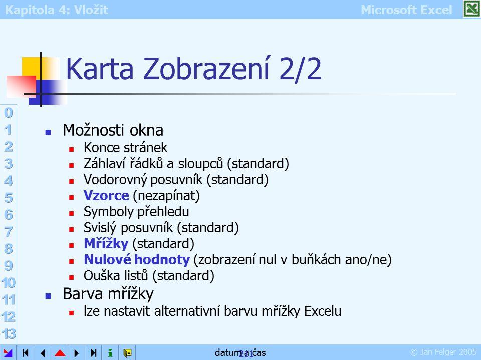 Kapitola 4: Vložit Microsoft Excel © Jan Felger 2005 datum a čas 211 Karta Zobrazení 2/2 Možnosti okna Konce stránek Záhlaví řádků a sloupců (standard