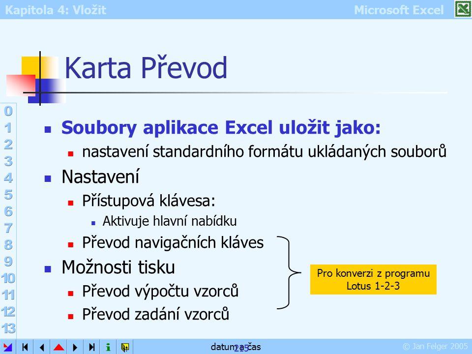 Kapitola 4: Vložit Microsoft Excel © Jan Felger 2005 datum a čas 215 Karta Převod Soubory aplikace Excel uložit jako: nastavení standardního formátu u