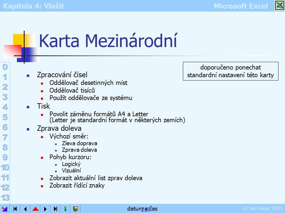 Kapitola 4: Vložit Microsoft Excel © Jan Felger 2005 datum a čas 219 Karta Mezinárodní Zpracování čísel Oddělovač desetinných míst Oddělovač tisíců Po