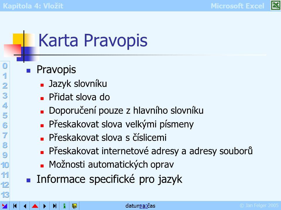 Kapitola 4: Vložit Microsoft Excel © Jan Felger 2005 datum a čas 222 Karta Pravopis Pravopis Jazyk slovníku Přidat slova do Doporučení pouze z hlavníh
