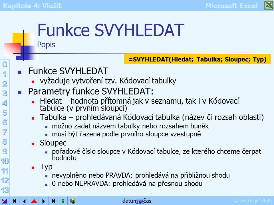 Kapitola 4: Vložit Microsoft Excel © Jan Felger 2005 datum a čas 226 Funkce SVYHLEDAT Popis Funkce SVYHLEDAT vyžaduje vytvoření tzv. Kódovací tabulky
