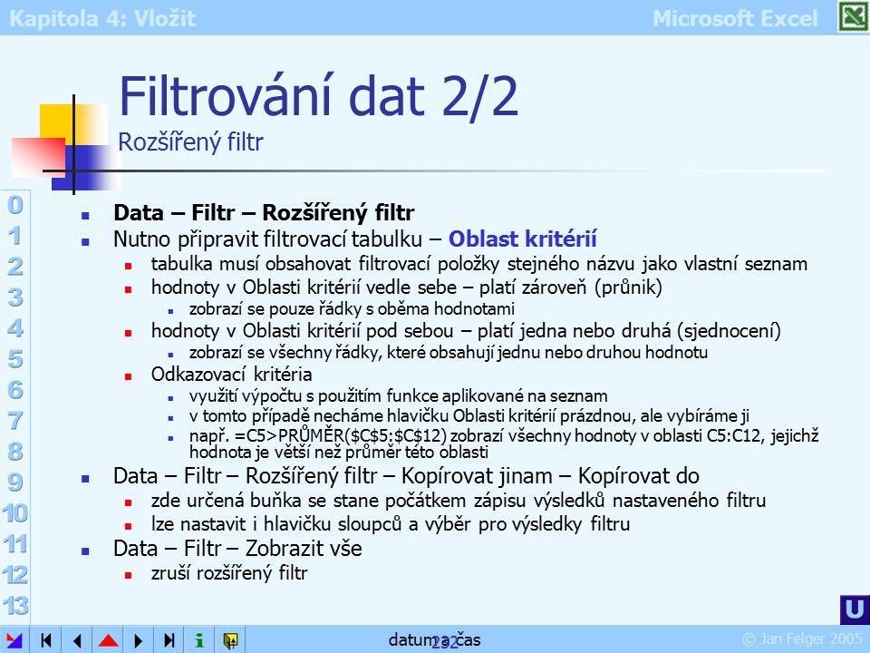 Kapitola 4: Vložit Microsoft Excel © Jan Felger 2005 datum a čas 232 Filtrování dat 2/2 Rozšířený filtr Data – Filtr – Rozšířený filtr Nutno připravit