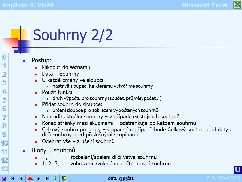 Kapitola 4: Vložit Microsoft Excel © Jan Felger 2005 datum a čas 235 Souhrny 2/2 Postup: kliknout do seznamu Data – Souhrny U každé změny ve sloupci:
