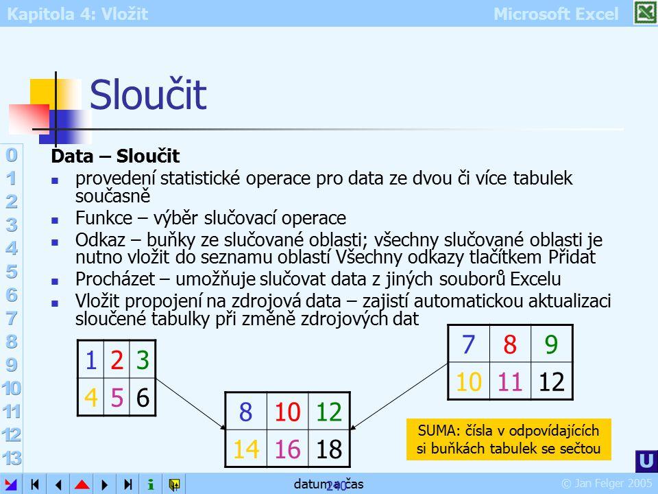 Kapitola 4: Vložit Microsoft Excel © Jan Felger 2005 datum a čas 240 Sloučit Data – Sloučit provedení statistické operace pro data ze dvou či více tab