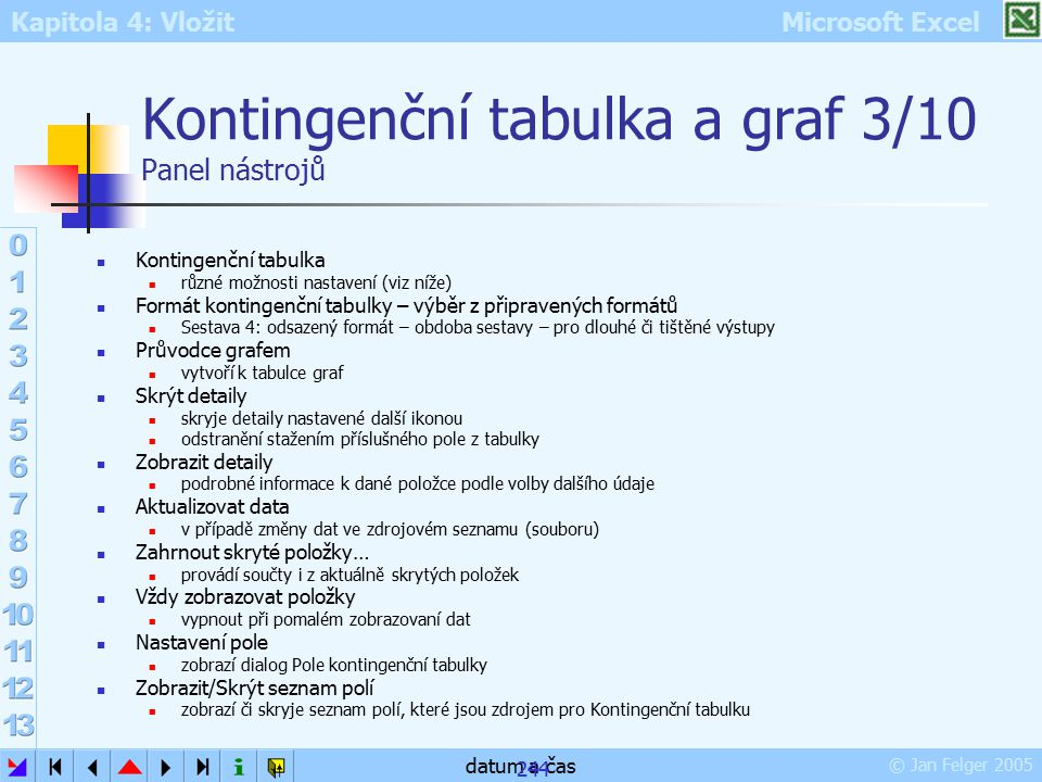 Kapitola 4: Vložit Microsoft Excel © Jan Felger 2005 datum a čas 244 Kontingenční tabulka a graf 3/10 Panel nástrojů Kontingenční tabulka různé možnos