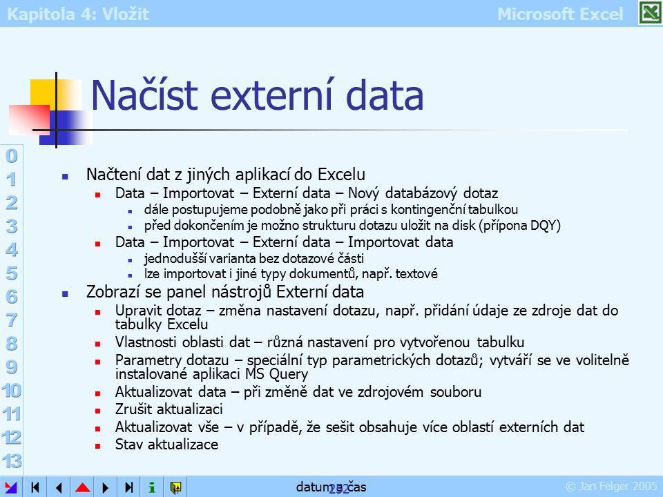 Kapitola 4: Vložit Microsoft Excel © Jan Felger 2005 datum a čas 252 Načíst externí data Načtení dat z jiných aplikací do Excelu Data – Importovat – E