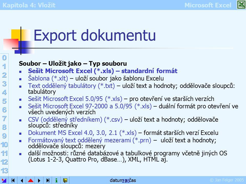 Kapitola 4: Vložit Microsoft Excel © Jan Felger 2005 datum a čas 258 Export dokumentu Soubor – Uložit jako – Typ souboru Sešit Microsoft Excel (*.xls)
